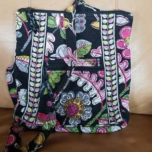 Vera Bradley quilted cotton bag, leaf & flowers